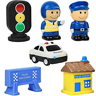 Click N' Play 6 Piece Police Station Figurine Playset for Kids, Soft Touch Vinyl Bath Toy.