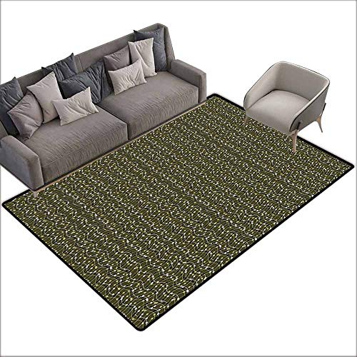 Door Mat Living Room Non-Slip Abstract,Sea of Geometrical Patterns Wave Design Dots and Lines Square Motifs,Olive Green Black White 64