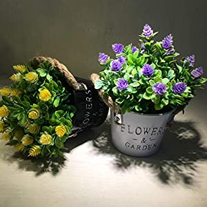 MIXROSE Artificial Plastic Mini Plants Fake Flower in Metal Pot for Home Décor Purple and Yellow – Set of 2 2