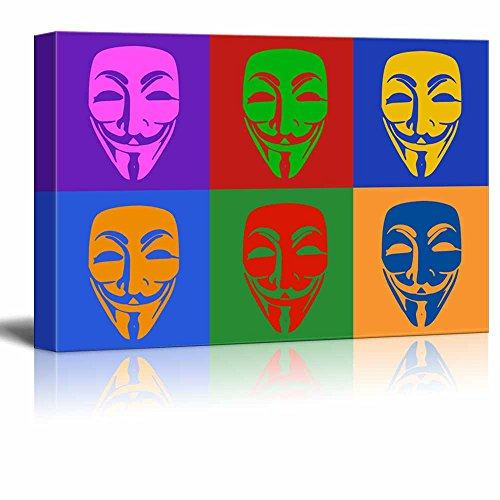 wall26 - Canvas Wall Art - Multi-Color Pop Art with Anonymous Mask - Giclee Print Gallery Wrap Modern Home Decor Ready to Hang - 12