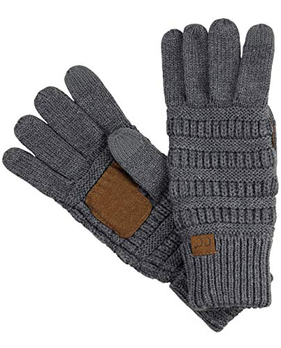 C.C Unisex Cable Knit Winter Warm Anti-Slip Touchscreen Texting Gloves, Dark Melange Gray