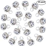 Accmor 20 Packs Party Light Up Rings Engagement Diamond Rings, Perfect for Bachelorette Kids Adults(Cold White Lights)