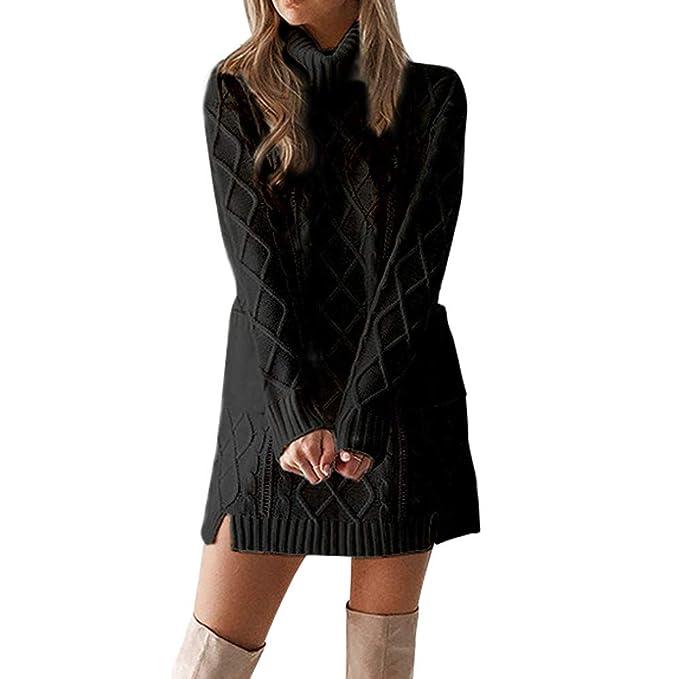 8b5c66553e49 Toimothcn Women Turtleneck Knit Sweater Dress Long Sleeve Pocket Mini Dress (Black