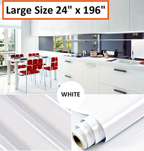 Oxdigi White Contact Paper Decorative 24 x 196 inches for Cabinets Countertops Shelves Glossy Glitter Self Adhesive Film Peel and Stick Waterproof Removable Kitchen Wallpaper Christmas (Pearlescent)
