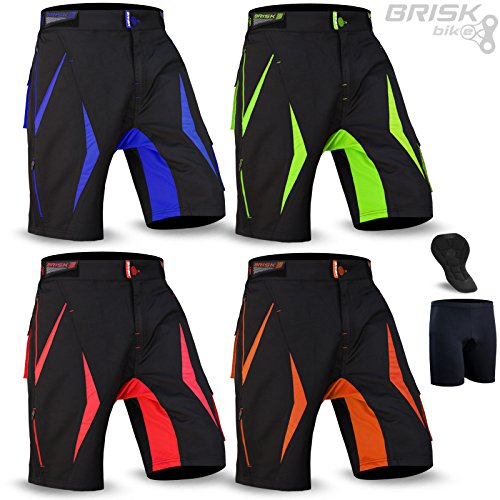 Brisk Bike MTB Shorts MTB Shorts Padded MTB Shorts Fox MTB Shorts Altura MTB Shorts Entura MTB Shorts Men MTB Shorts Women All Season Cycling Shorts (Large, Blue - Pad Groin Female