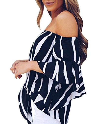Womens Summer Sexy Off Shoulder Striped Short Sleeve T-Shirt Casual Knot Tie Chiffon Blouse Top (Black,M) by Defal (Image #3)'