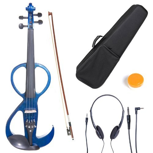 Cecilio 4/4CEVN-3BL Solid Wood Blue Metallic Electric/Silent Violin with Ebony Fittings in Style 3 (Full Size)