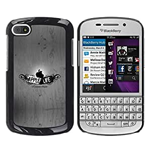 TopCaseStore / la caja del caucho duro de la cubierta de protección de la piel - Funny Apple Life - BlackBerry Q10