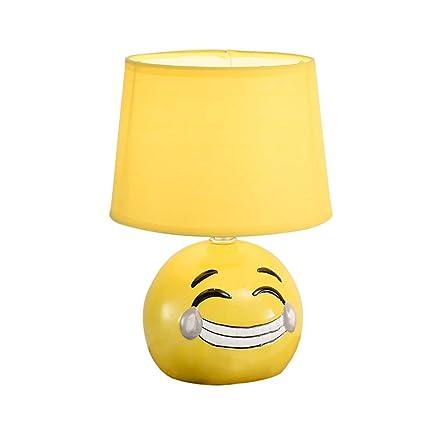 CCSUN Amarillo smiley Niños Lámpara de mesa, Moderno ...