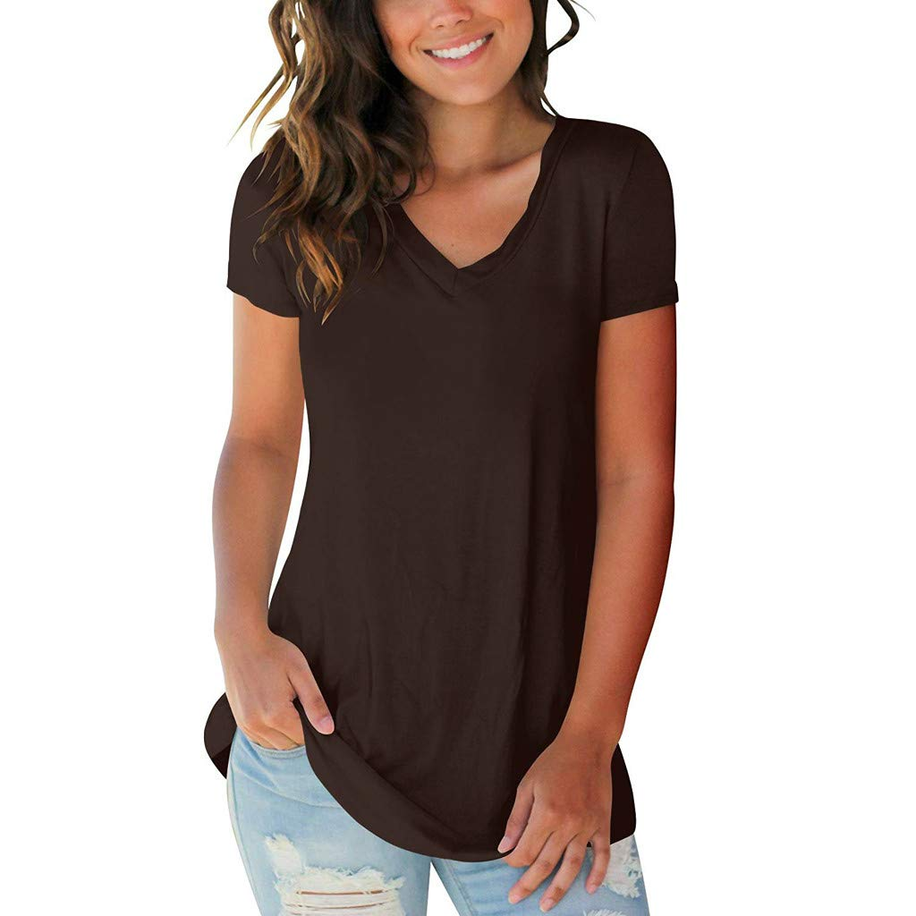 YEZIJIN Womens Summer Short Sleeve V-Neck Solid T-Shirt Casual Loose Tops Blouse Fashion 2019 Under 10 Dollars Coffee