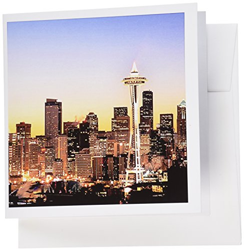 3dRose Greeting Cards, Seattle Skyline, Christmas Holiday, Us48 Rdu0063, Richard Duval, Set of 6 (gc_96597_1)