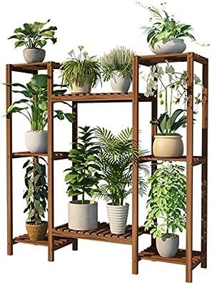 Huahua Furniture Escalera para Flores, Soporte de Planta Estante de Madera 8 gradas Estante de exhibición de Estante de la Flor Estante para el hogar y el jardín Estantes del balcón: Amazon.es: