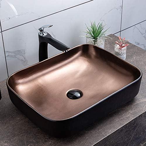 DS- バスルームの洗面台、カウンター洗面器シングル盆地(蛇口なし)、52X40X13cm上記スクエアセラミック流域の世帯バスルーム 洗面ボール && (Size : 52X40X13cm)