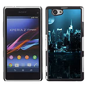 Hot Style Cell Phone PC Hard Case Cover // M00103284 cityscapes blue photos moon // Sony Xepria Z1 Mini