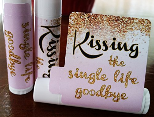 12 Bridal Shower Lip Balms – Bachelorette Party Favors – Kissing the Single Life Goodbye – Gold Glitter Bridal Shower