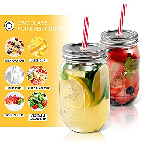 Mastertop 6 Pcs 16oZ Mason Drinking Jars with Lids 100% Recycled Glass Bottles and Drinking Straws with 3 Extra Free…