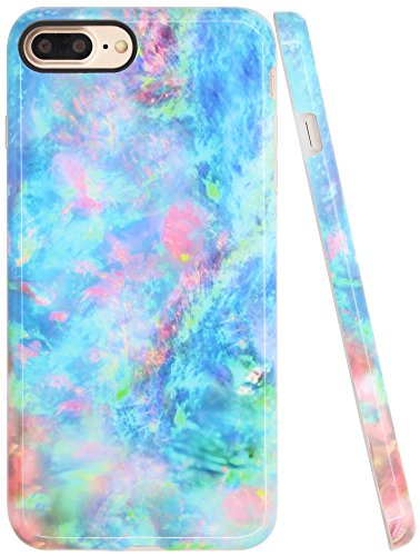 Iphone 8 Plus Opal Case, Iphone 7 Plus Case, A-Focus Full Print Slim Smooth Pastel Gradient Colorful Green Blue Marble IMD Design Rubber Case for Iphone 7 Plus/Iphone 8 Plus 5.5 - Glossy Green