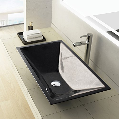MAYKKE Arvada 24 Inch Rectangular Bathroom Stone Sink, Black Natural Stone Granite Sinks for Bathroom Vanity, Modern Vessel Sink in Shanxi Black Granite, (Elite Pedestal Vanity)