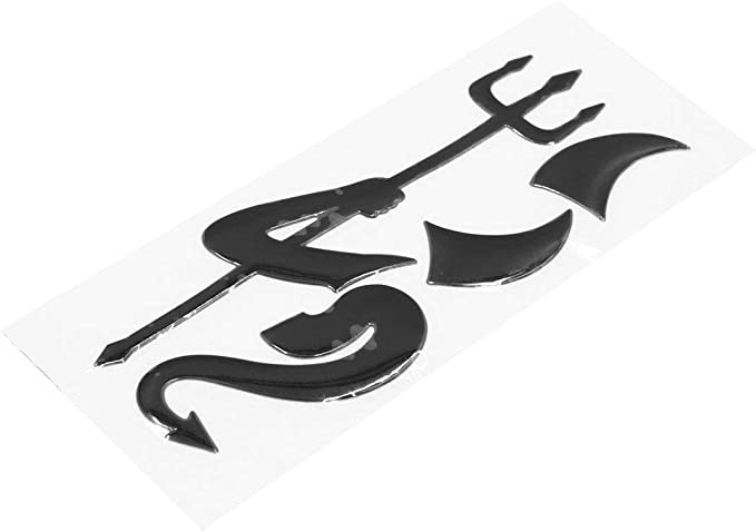 Sourcing Map Auto Kleiner Teufel Dämon Aufkleber 3d Reflektierend Wasserdicht Schwarz Auto