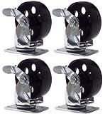 """4 Large All Steel Swivel Plate Caster w Brake Lock Heavy Duty 3.5"""" Wheel 1500lb"""