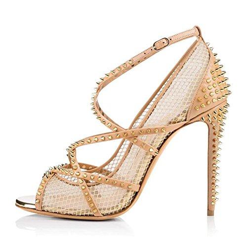 L@YC Women'S High Heels Fishing Net Rivet Sandals Nude Color Fish Mouth Single Shoes / Black / Yellow Yellow