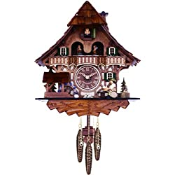 River City Clocks Musical Black Forest Cuckoo Clock with Dancers, Waterwheel, and Beer Drinker, 14-Inch Tall