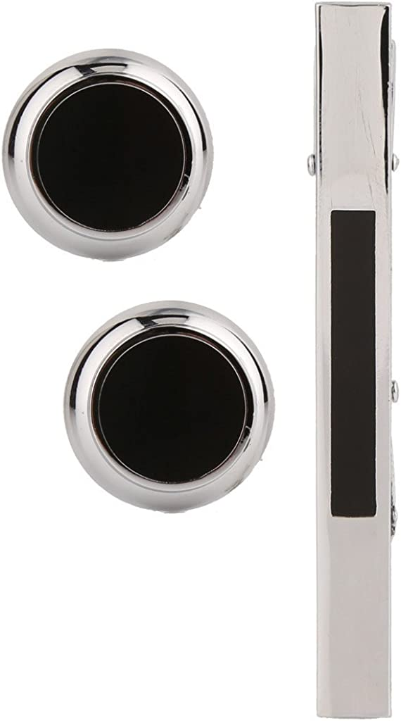TRIPIN Men's Silver Black Brass Cufflinks and Tie Pin in A Gift Box