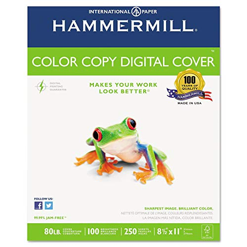 Hammermill - Cover Stock, 80lb, 98 Brightness, Letter, White, 250 Sheets