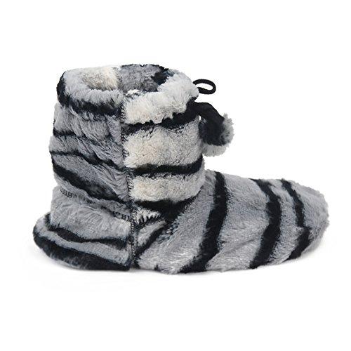 Gohom Dames Faux Fur Black Fringes Indoor Slipper Boots Strip
