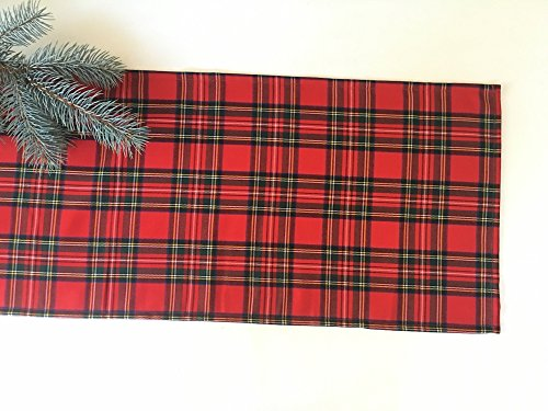 Plaid Christmas table runner, Royal Stewart tartan table runner, Handmade Red Plaid table runner in USA