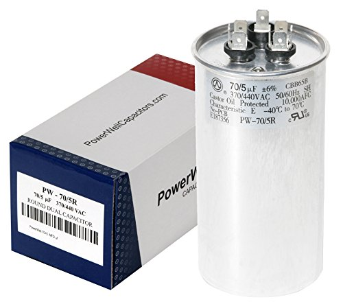 PowerWell 70+5 MFD uf micro farad 370 or 440 Volt Dual Run Round Capacitor Bundle TP-CAP-70/5/370-440R for Condenser Straight Cool or Heat Pump Air Conditioner and Zip Tie
