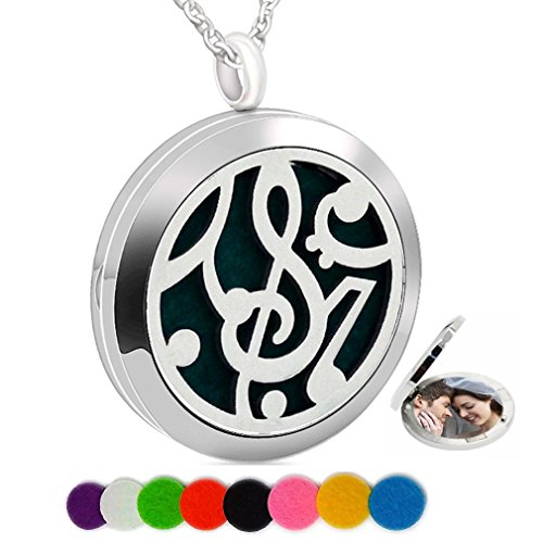 - Essential Oil Necklace Aromatherapy Diffuser Perfume Pendant Music Charm Round Picture Locket Women