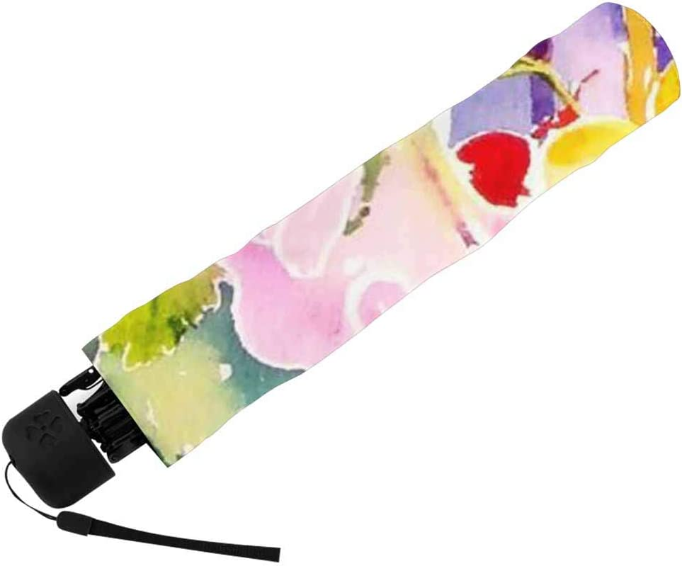 InterestPrint Custom Vintage Flower Leaves Anti Sun UV Foldable Travel Compact Umbrella
