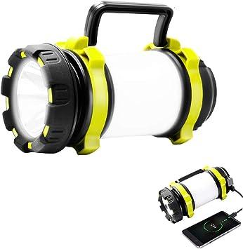 Antorcha LED UYIKOO 1000 Lumen CREE con 4 Modos de luz y Banco de Energ/ía de 4000 mAh Emergencia y M/ás luz de Trabajo Resistente al Agua para Senderismo L/ámpara de Camping Recargable Pesca