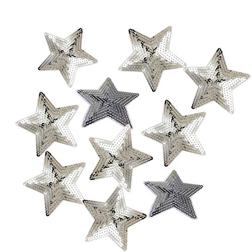 (Ximkee Pack of 10 Shiny 5 Star Sequins Sew Iron on Applique Embroidered Patches-Silver)