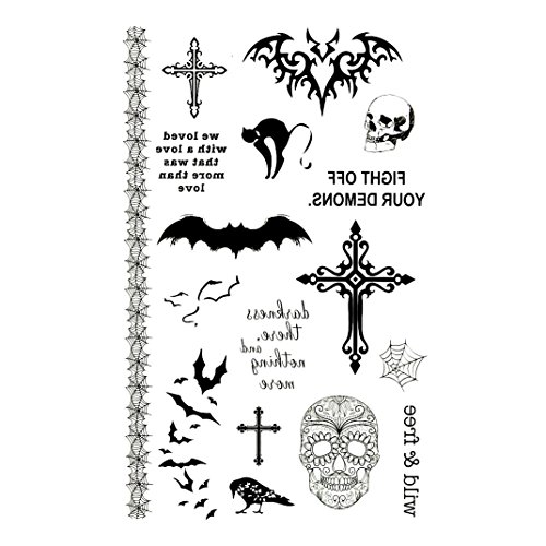 Oottati Temporary Tattoo Halloween Skull Cross Bat Crow Cat Spider Web horror Wild And Free Quote Words (2 Sheets)
