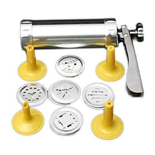 Cookie Press Set, SENREAL Stainless Steel Non-Stick Cookie Press Set Include 22 Shapes & 4 Decorating Tips
