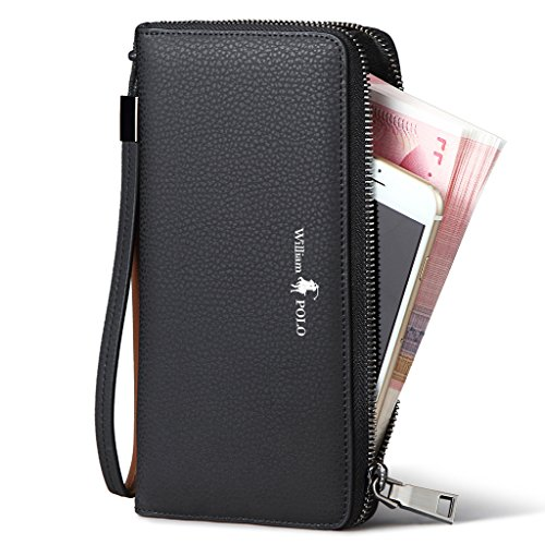 aad7a9cbd1fa5 William POLO Men s Genuine Leather Zip Around Long Purse Mens Wallet Money  Clip - Buy Online in UAE.