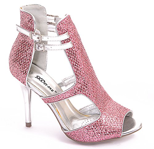 GLITTER HEEL PROM PEEP SANDALS LADIES WOMENS AB2197 618 CUT Fuchsia OUT Glitter SHOES PARTY HIGH TOE NEW q8BwPWPvX
