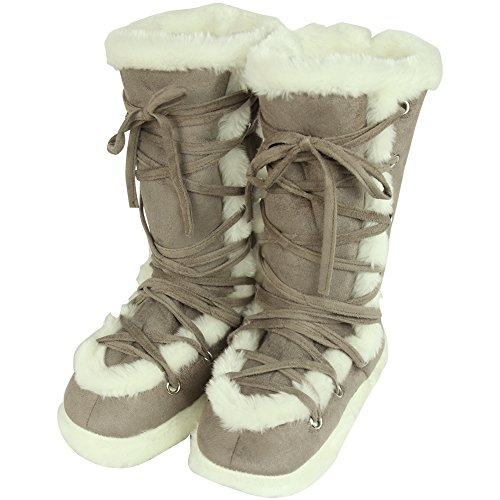 Home Slipper Womens Winter Warm Faux Fur Indoor House Boot Slippers Shoes Cameo Brown x3Vwx