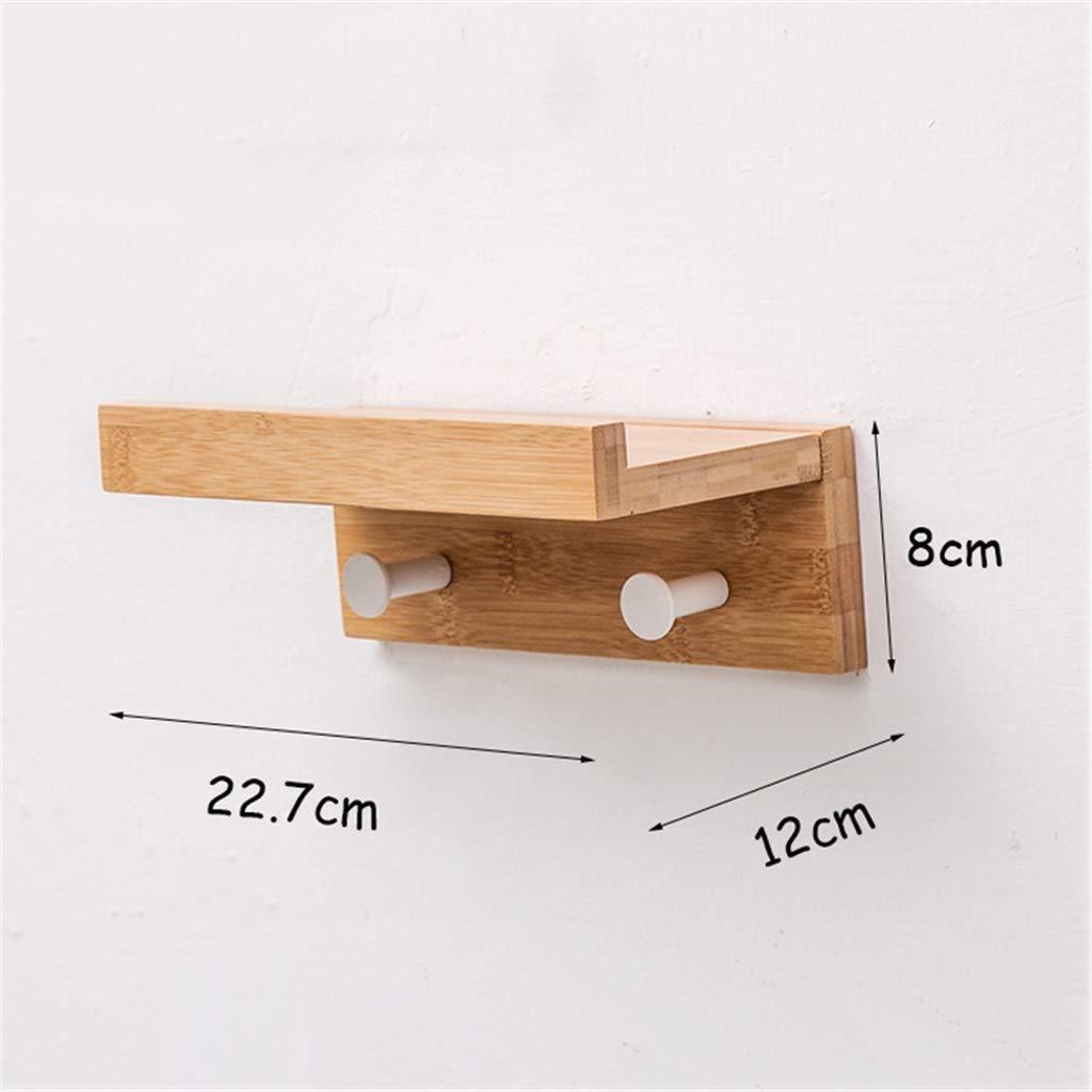Margueras - 1 estante toallero perchero de pared (bambú con estante y ganchos), madera, 2K