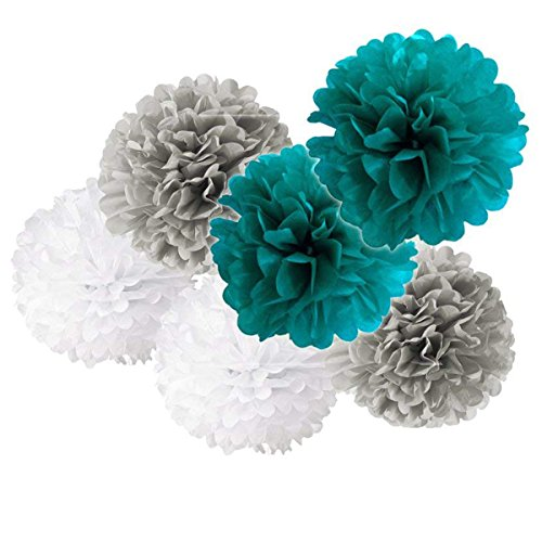 6PCS Baby Boy Shower Party Decoration Mixed Teal Gray White Party Tissue Paper Pom Poms Wedding Shower Birthday Nursery Hanging Decoration