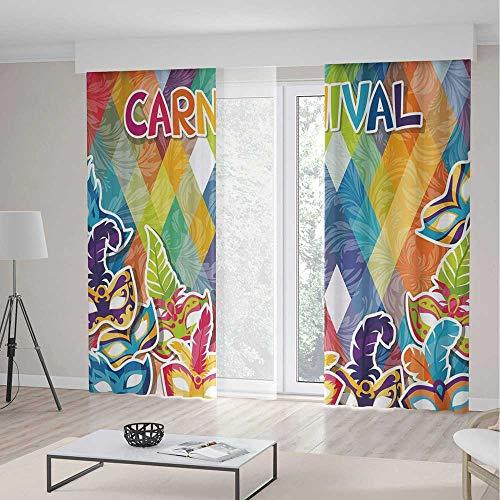 iPrint Mardi Gras Blackout Curtain,Vibrant Joyful Celebration Composition Abstract Pattern Feathers Carnival Masks,Living Room Bedroom Curtain 2 Panels Set,142 W 106 (Black Velvet Feather Mask)