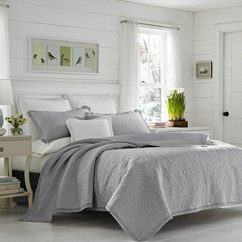 - Laura Ashley Heirloom Crochet Grey Quilt Set, King, Pastel Grey