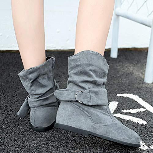 Paolian Calzado 2018 Terciopelo Invierno Mujer Blanda Grande Para Chelsea De Suela Zapata Zapatos Gris Otoño Charol Talla Clásicas Botas Altos Dama Moda Botines Señora q8AZFF