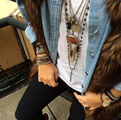 Hematite Beads Stone 3 Wrap Bracelets  For Women Men Best Friend Beaded Cuff Bangle Genuine Leather by changgaijewelry (Image #2)
