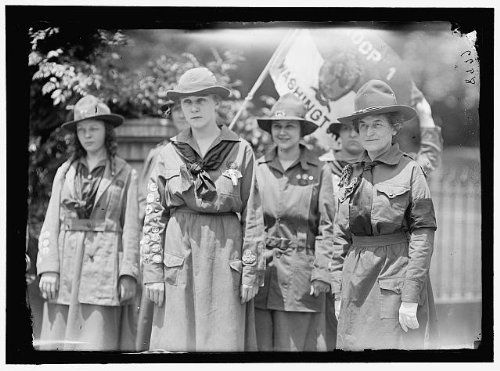 Photo Reprint Girl Scouts. Troop #1. Mrs. Juliette Low, Founder, Right; Elenore Putsske, Center; Evaline Glance, ()