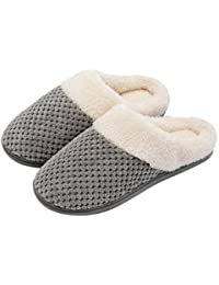 Women's Comfort Coral Fleece Memory Foam Slippers Fuzzy Plush Lining Slip-on Clog House Shoes for Indoor & Outdoor...
