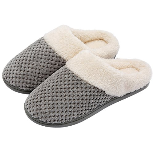 ULTRAIDEAS Women's Soft Gridding Coral Velvet Short Plush Lining Slip-on Memory Foam Clog Indoor Slippers (Medium / 7-8 B(M) US, Gray)