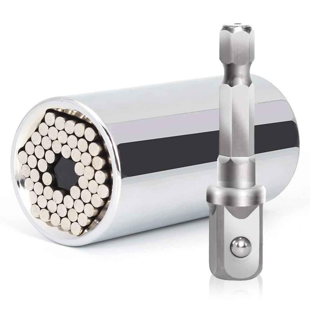 Adaptateur de douille universelle /à rochet multifonctions Poign/ée pour cl/é magique 7-19mm Argent Jeu de cl/és /à douille universelles Adaptateur de foret /à auto-r/églage